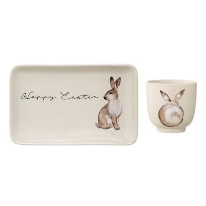 Hrnek a talíř Happy Easter zajíc SET/2ks_0