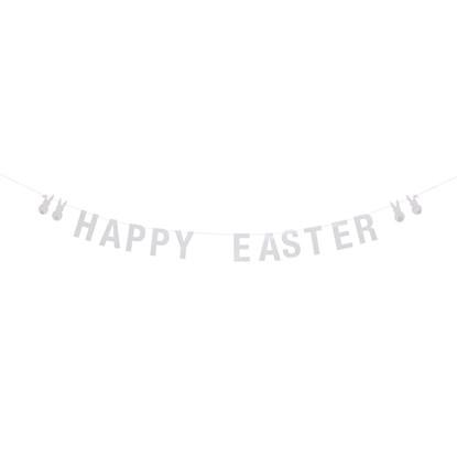 Papírová girlanda Happy Easter bílá_0
