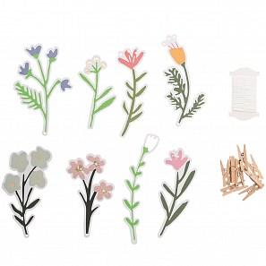 Papír. dekorace s kolíčky FLOWERS SET/8 ks_1