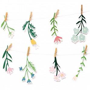 Papír. dekorace s kolíčky FLOWERS SET/8 ks_3