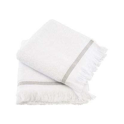 Ručník 50x100 cm bílý s šedými proužky SET/2ks_0