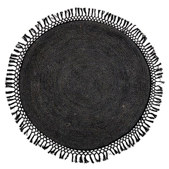 Kulatý koberec s třásněmi Hilton černý_0