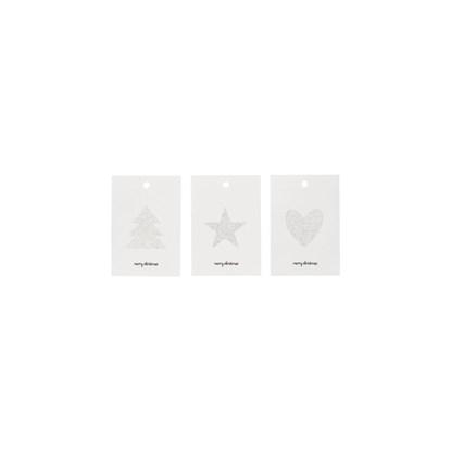 Štítky na dárky GLITR SET/6 ks stříbrná_3