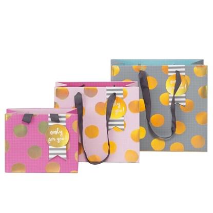 Kvalitní dárkové tašky SET/3 vel. Dots pink rosé blau_0